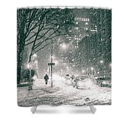 Snow Swirls at Night in New York City Shower Curtain by Vivienne Gucwa
