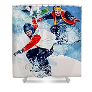 Snowboard Super Heroes Shower Curtain by Hanne Lore Koehler