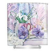 Snowdrops And Anemones Shower Curtain by Julia Rowntree