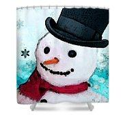 Snowman Christmas Art - Frosty Shower Curtain by Sharon Cummings