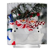 Snowmen Christmas Ornament Shower Curtain by Elena Elisseeva