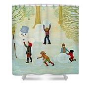 Snowmen Shower Curtain by Ditz