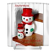 Snowmen - Greetings - Happy Holidays Shower Curtain by Barbara Griffin