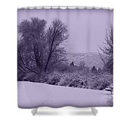 Snowy Bench In Purple Shower Curtain by Carol Groenen