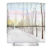 Snowy Lane Shower Curtain by Arlene Crafton