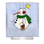 Snowy Man Shower Curtain by Norma Appleton