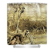 So Nobody Can Quite Explain Exactly Where the Rainbows End Shower Curtain by Arthur Rackham