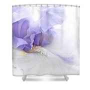 Softness Of A Lavender Iris Flower Shower Curtain by Jennie Marie Schell