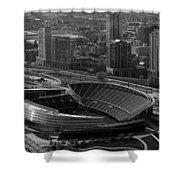 Soldier Field Chicago Sports 05 Black And White Shower Curtain by Thomas Woolworth