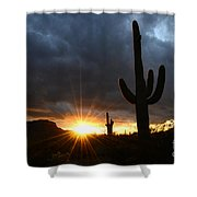 Sonoran Desert Rays Of Hope Shower Curtain by Bob Christopher