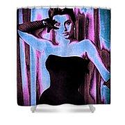 Sophia Loren - Blue Pop Art Shower Curtain by Absinthe Art By Michelle LeAnn Scott