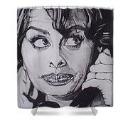 Sophia Loren Telephones Shower Curtain by Sean Connolly