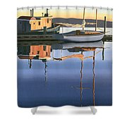 South Harbour Reflections Shower Curtain by Gary Giacomelli