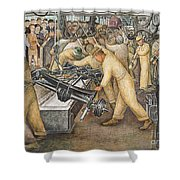 South Wall of a Mural depicting Detroit Industry Shower Curtain by Diego Rivera
