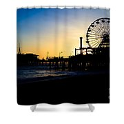 Southern California Santa Monica Pier Sunset Shower Curtain by Paul Velgos