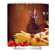 Spaghetti Pasta With Tomatoes And Garlic Shower Curtain by Amanda And Christopher Elwell