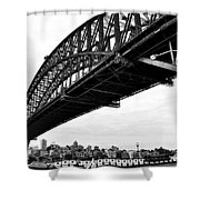 Spanning Sydney Harbour - Black And White Shower Curtain by Kaye Menner
