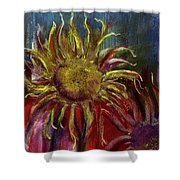 Spent Sunflower Shower Curtain by David Patterson