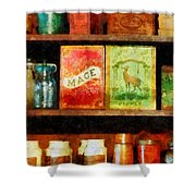 Spices on Shelf Shower Curtain by Susan Savad