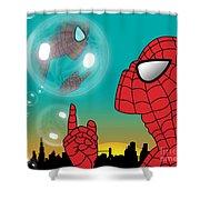Spiderman 4 Shower Curtain by Mark Ashkenazi