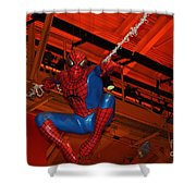 Spiderman Swinging Through The Air Shower Curtain by John Telfer