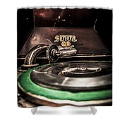 Spin That Record Shower Curtain by Darcy Michaelchuk