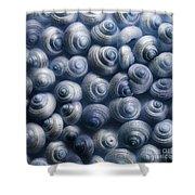 Spirals Blue Shower Curtain by Priska Wettstein
