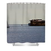 Spitbank Fort Martello Tower Shower Curtain by Terri Waters