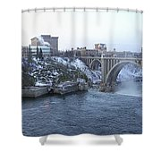 Spokane City Skyline On A Frigid Morning Shower Curtain by Daniel Hagerman