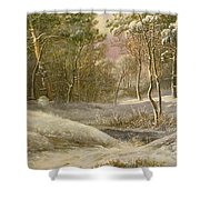 Sportsmen In A Winter Forest Shower Curtain by Pieter Gerardus van