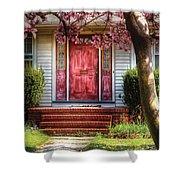 Spring - Door - Westfield Nj - Pink Shower Curtain by Mike Savad