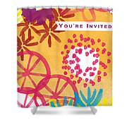 Spring Floral Invitation- Greeting Card Shower Curtain by Linda Woods
