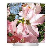 Spring Pink Dogwood Floral Art Prints Flowers Shower Curtain by Baslee Troutman