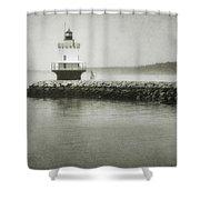 Spring Point Ledge Light Shower Curtain by Joan Carroll