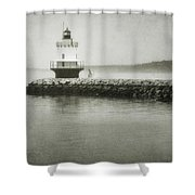 Spring Point Ledge Light Shower Curtain by Joan Carroll