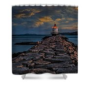 Spring Point Ledge Lighthouse Shower Curtain by Susan Candelario