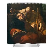 St. Benedict And A Hermit Shower Curtain by Domenico Maria Viani