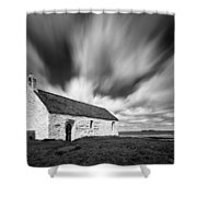 St Cwyfan's Church Shower Curtain by Dave Bowman