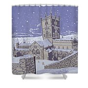 St David s Cathedral in the Snow Shower Curtain by Huw S Parsons