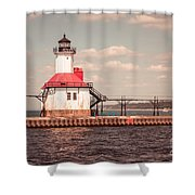 St. Joseph Lighthouse Vintage Picture  Photo Shower Curtain by Paul Velgos