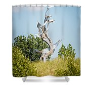 St. Joseph Michigan And You Seas Metal Sculpture Shower Curtain by Paul Velgos