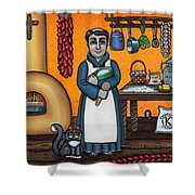 St. Pascual Making Bread Shower Curtain by Victoria De Almeida