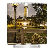 St. Simons Lighthouse Shower Curtain by Debra and Dave Vanderlaan