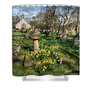 St Tysilio Graveyard Shower Curtain by Adrian Evans