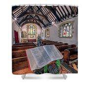 St Tysilios Bible Shower Curtain by Adrian Evans