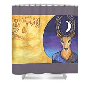 Stag Dreamer Shower Curtain by Cat Athena Louise
