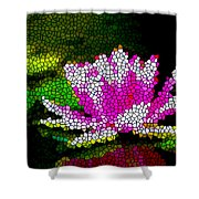 Stained Glass Pink Lotus Flower   Shower Curtain by Lanjee Chee