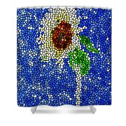 Stained Glass  Sunflower Over The Blue Sky Shower Curtain by Lanjee Chee