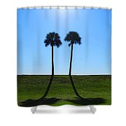 Stand By Me - Palm Tree Art By Sharon Cummings Shower Curtain by Sharon Cummings