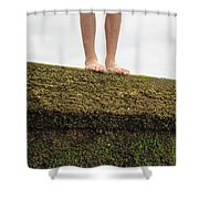 Standing On A Jetty Shower Curtain by Edward Fielding